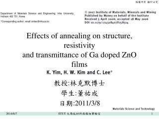 Effects of annealing on structure, resistivity and transmittance of Ga doped ZnO films