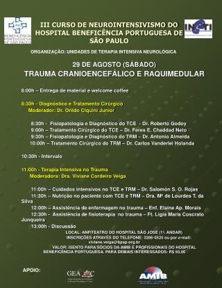 III CURSO DE NEUROINTENSIVISMO DO HOSPITAL BENEFIC NCIA PORTUGUESA DE S O PAULO