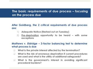 The basic requirements of due process   focusing on the process due