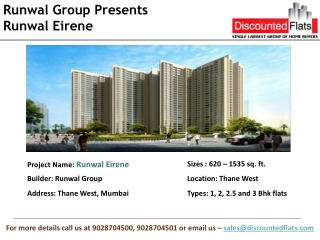 Runwal Eirene � a pre launch project by Runwal group located