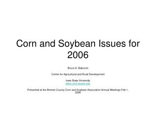 Corn and Soybean Issues for 2006