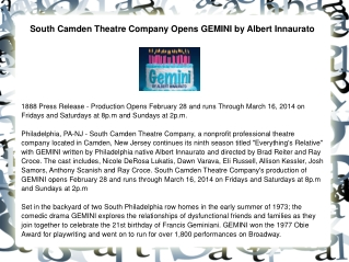 South Camden Theatre Company Opens GEMINI by Albert Innaurat