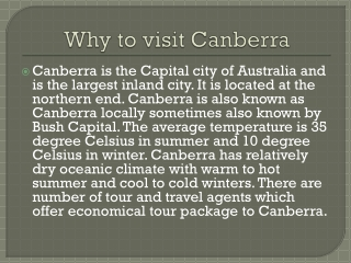 Canberra flights and Travel guide