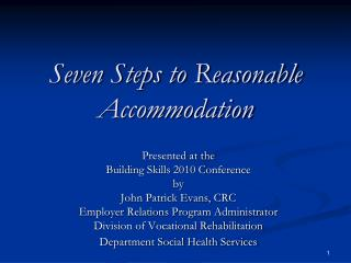seven steps to reasonable accommodation