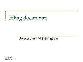 Filing documents