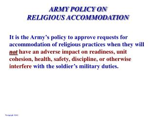 army policy on religious accommodation