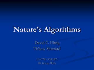 Nature s Algorithms