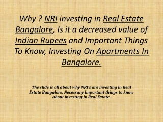 Nri Investments on real estate bangalore