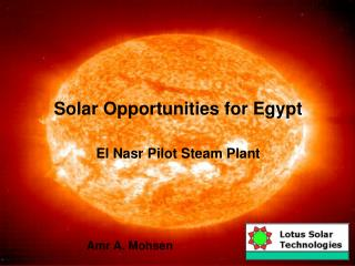 Solar Opportunities for Egypt  El Nasr Pilot Steam Plant