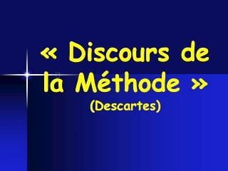 Discours de la M thode   Descartes