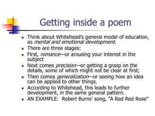 Getting inside a poem