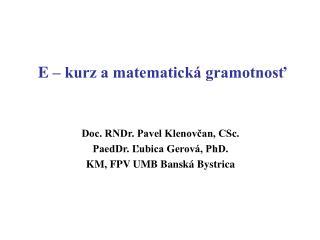 E   kurz a matematick  gramotnost