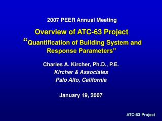 overview of atc-63 project   quantification of building system and response parameters