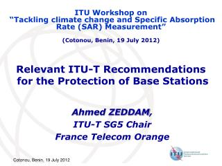 Relevant ITU-T Recommendations  for the Protection of Base Stations