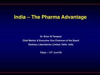 India   The Pharma Advantage