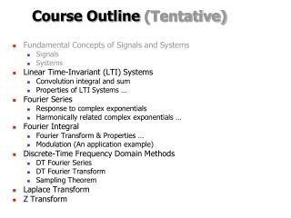 Course Outline Tentative