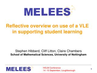 Reflective overview on use of a VLE in supporting student learning