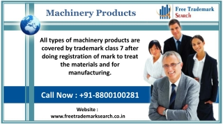 Trademark Class 7 | Machinery Products