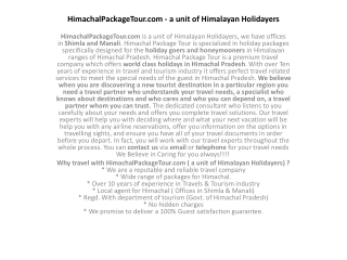HimachalPackageTour.com - a unit of Himalayan Holidayers