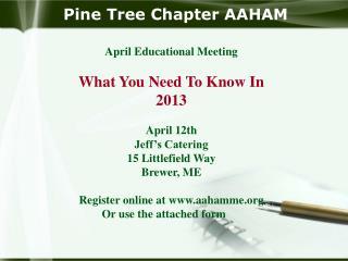 Pine Tree Chapter AAHAM