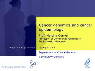 Cancer genomics and cancer epidemiology