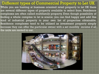 Different types of Commercial Property to Let UK