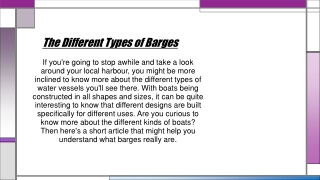 The Different Types of Barges