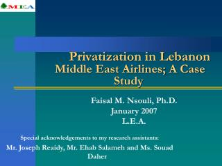Privatization in Lebanon  Middle East Airlines; A Case Study