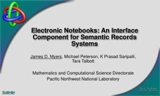 Electronic Notebooks: An Interface Component for Semantic Records Systems