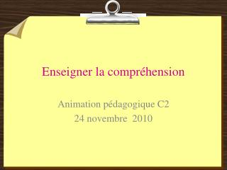 Enseigner la compr hension