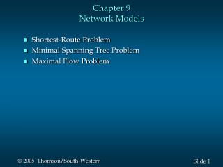 Chapter 9  Network Models