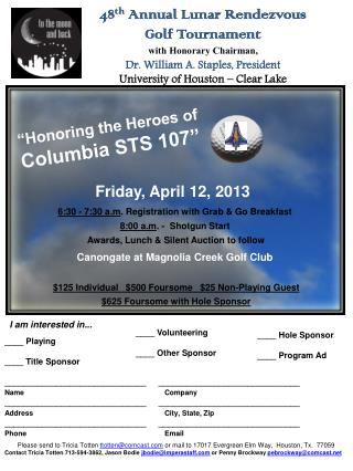 48th Annual Lunar Rendezvous  Golf Tournament with Honorary Chairman, Dr. William A. Staples, President University of Ho