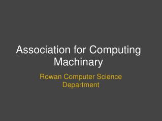 Association for Computing Machinary