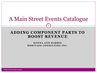 A Main Street Events Catalogue