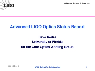 Advanced LIGO Optics Status Report  Dave Reitze University of Florida for the Core Optics Working Group