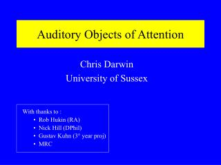 Auditory Objects of Attention