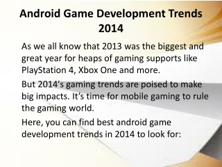 Android game Development Trends 2014