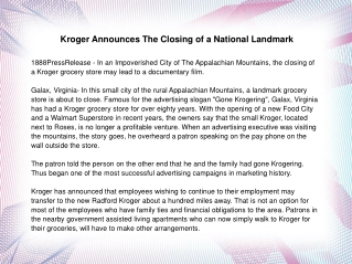 Kroger Announces The Closing of a National Landmark