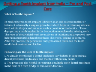 Getting a Tooth Implant from India – Pre and Post Care