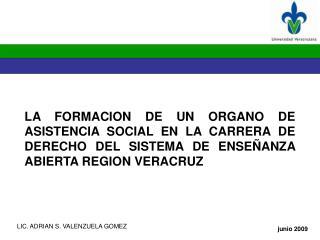 LA FORMACION DE UN ORGANO DE ASISTENCIA SOCIAL EN LA CARRERA DE DERECHO DEL SISTEMA DE ENSE ANZA    ABIERTA REGION VERAC