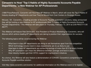 "Corcentric to Host ""Top 5 Habits of Highly Successful"