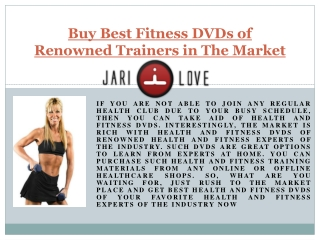 Buy best fitness dv ds of renowned trainers in Canada