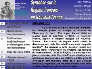 Synth se sur le   R gime fran ais en Nouvelle-France