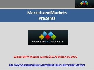 Global BIPV Market worth $12.73 Billion by 2016