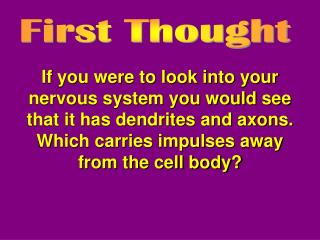 If you were to look into your nervous system you would see that it has dendrites and axons.  Which carries impulses away