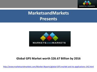 Global GPS Market worth $26.67 Billion by 2016