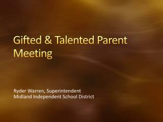 Gifted  Talented Parent Meeting