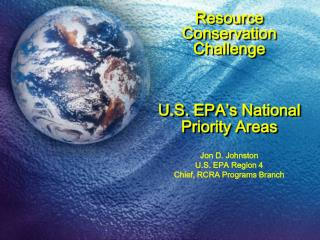 Resource Conservation Challenge    U.S. EPA s National Priority Areas