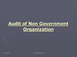 Audit of Non Government Organization