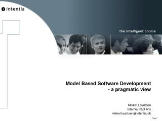 Model Based Software Development - a pragmatic view